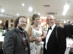 President Elect, Peter Knight with wife Maralyn and magician Neil Kelso